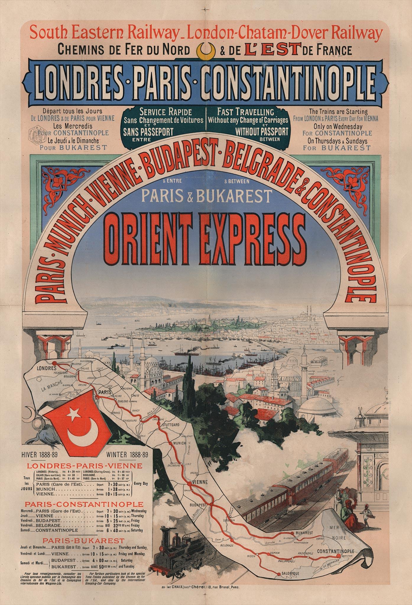 """SLAVNA ERA ŽELEZNICA: Plakat za """"Orijent Ekspres"""" Pariz - Konstantinopolj"""
