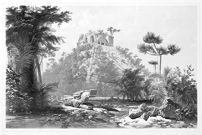 OBRASLA U TROPSKU VEGETACIJU: Piramida El Kastiljo na ilustraciji iz sredine 19. veka