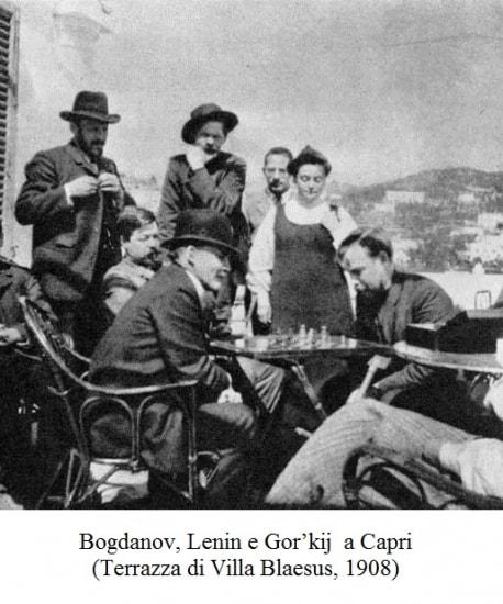 Bogdanov, Lenjin i Gorki na terasi vile na Kapriju