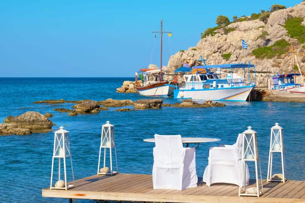 Table and chairs in cafe at Kolymbia. Rhodes, Greece