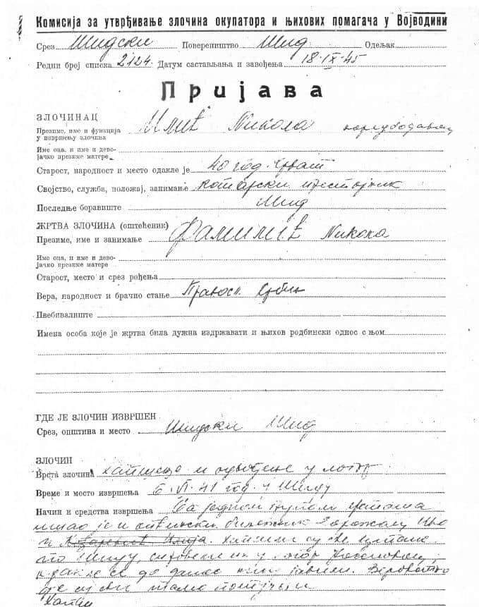 Iz Arhiva Vojvodine: Dokument Komisije za utvrđivanje zločina okupatora i njihovih pomagača u Vojvodini govori o zločinu nad Familićima