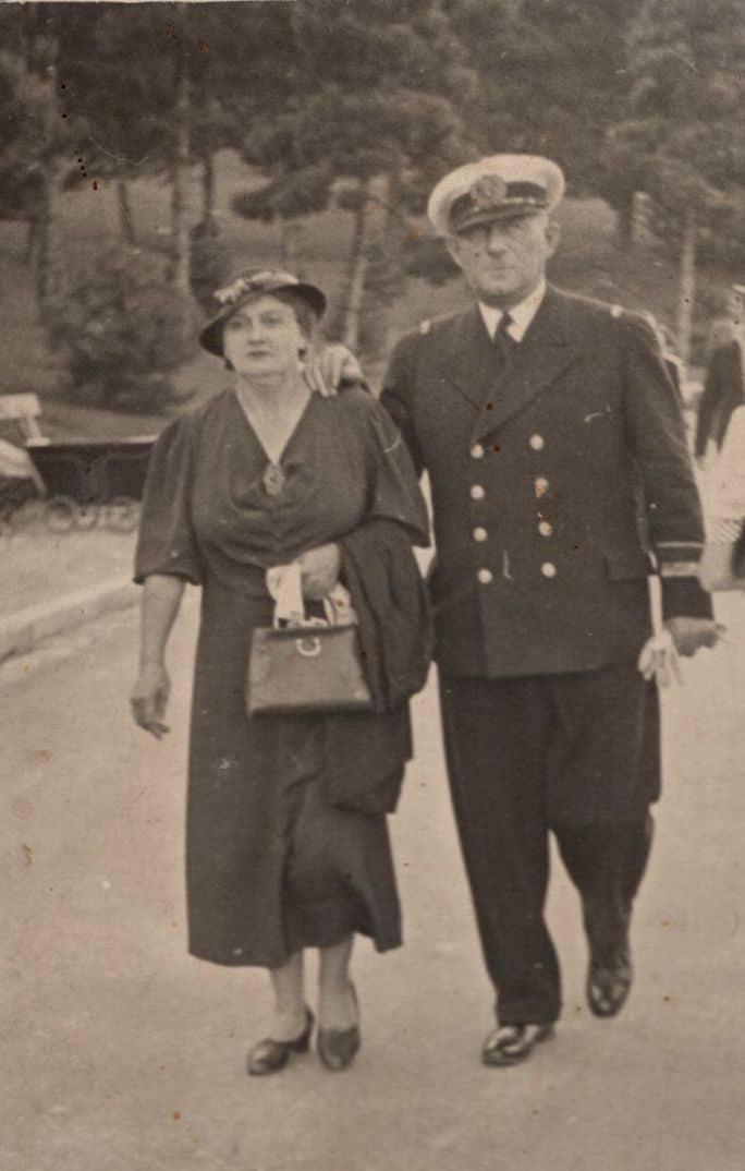 Rečni kapetan Vilim Bajer sa suprugom