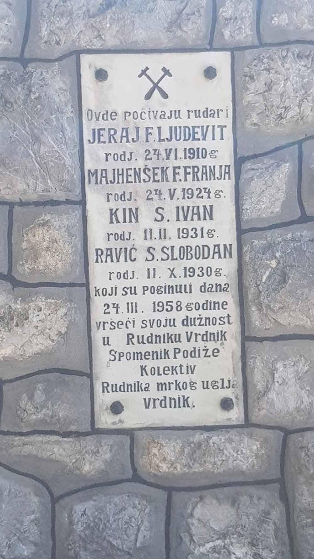 GROBLJE U VRDNIKU: Svedočanstvo rudarske nesreće iz 1958.