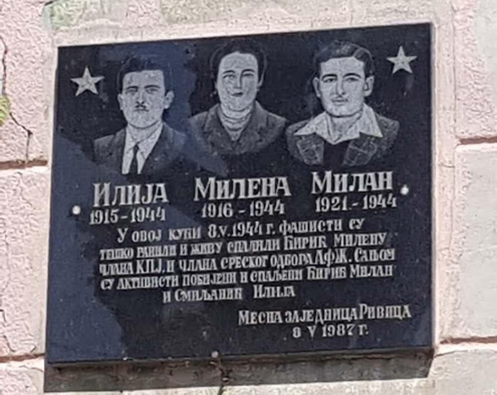 ŽIVI SPALJENI: Spomen ploča ubijenim partizanima u Rivici
