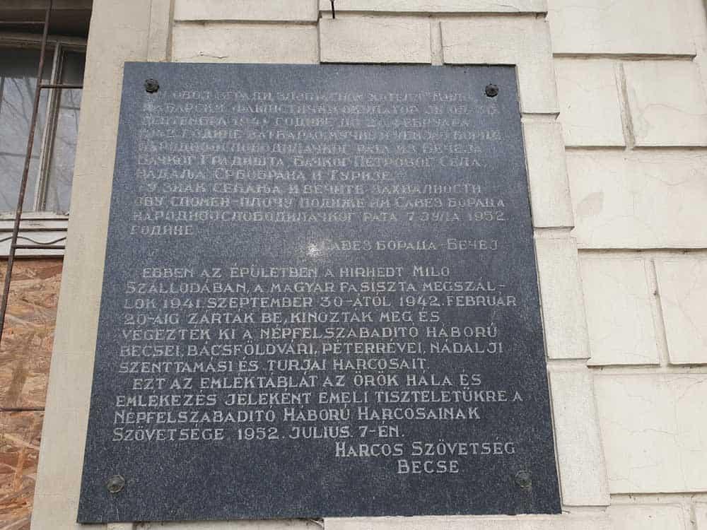 """U SPOMEN ŽRTAVAMA: Tabla na zatvorenom Muzeju revolucije, nekadašnjem hotelu """"Milo"""""""