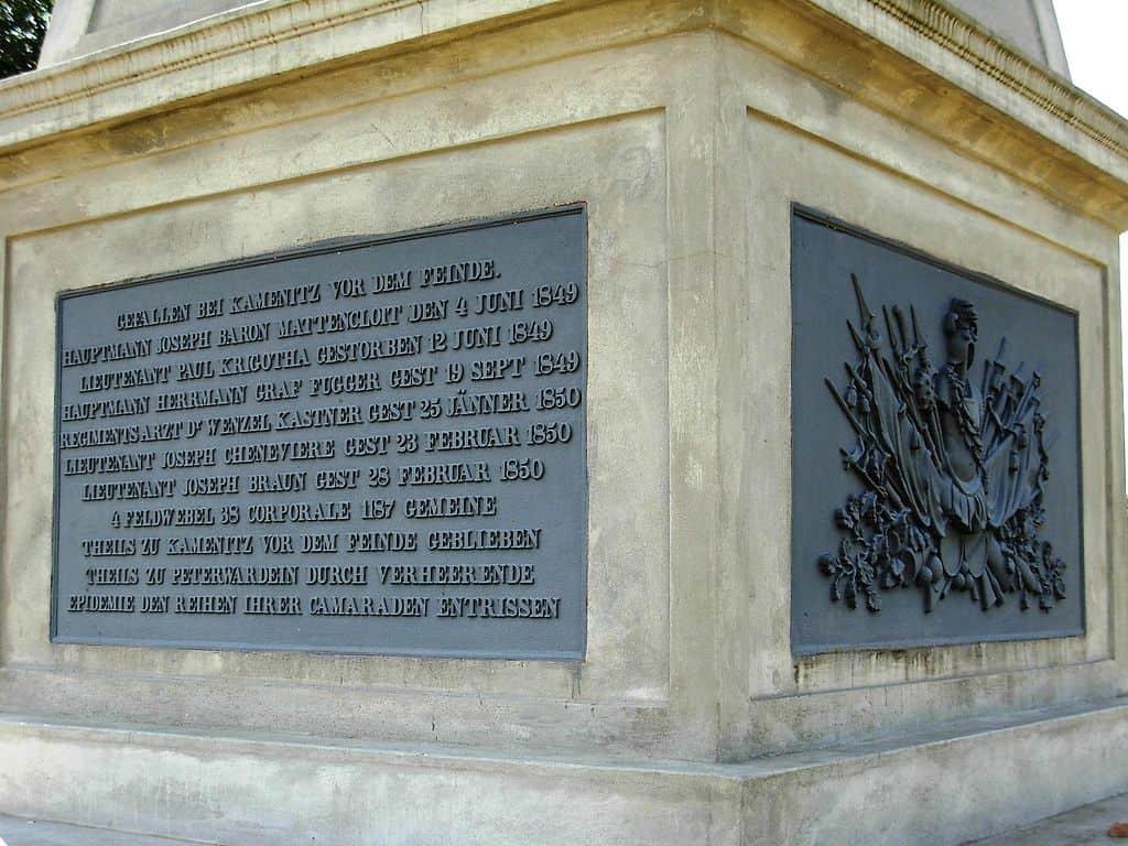 Natpis na spomeniku poginulim austrijskim vojnicima u Revoluciji 1848/49.