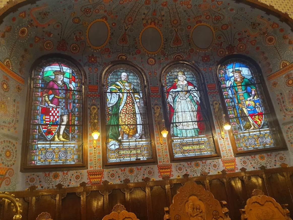 Carica Marija Terezija i car Franja Josif na vitražima: Svečana sala Gradske kuće