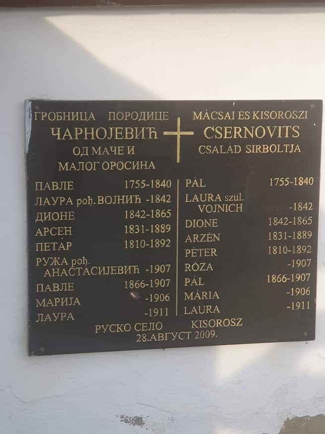 Slavna porodica: Tabla na grobnici Čarnojevića