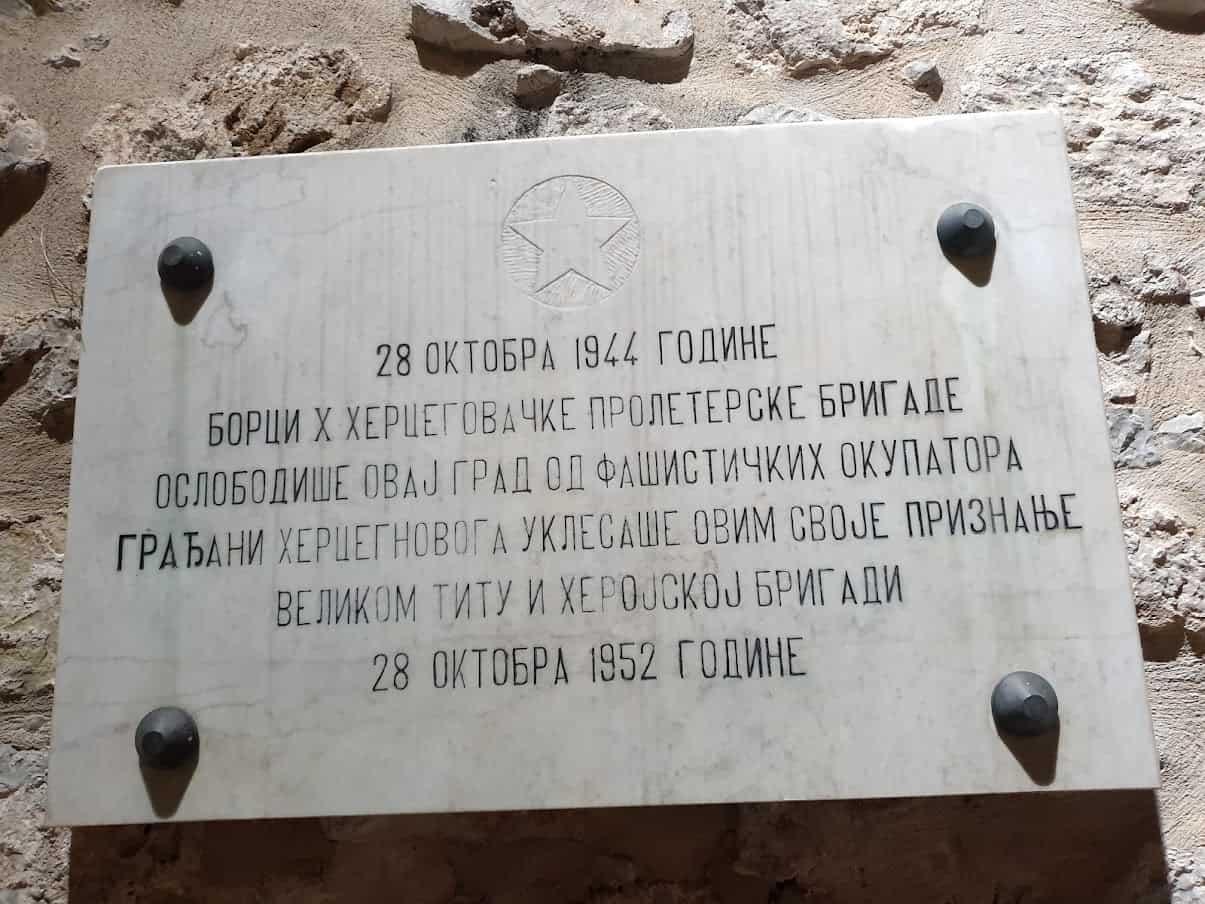 Sloboda je stigla iz pravca Hercegovine: Tabla u čast oslobodilaca Herceg Novog